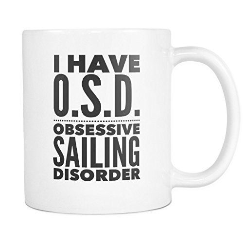 ArtsyMod OSD OBSESSIVE SAILING DISORDER Typography Premium Coffee Mug, PERFECT FUN GIFT for the Sailing Lover! Attractive Durable White Ceramic Mug (11oz., Black - Wetsuit India