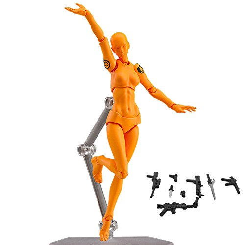 alextreme Art Mannequin Set,2 Pcs/Set Action Figure Model, Human Mannequin Man/Woman Action Figure Equipment with Accessories Kit,Suitable for Sketching, Painting, Drawing (Female, Orange)