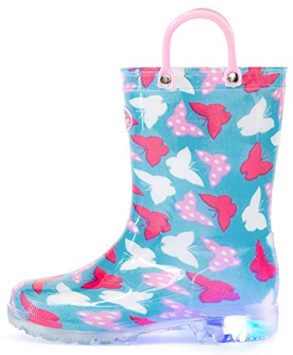 Outee Kids Rain Boots Girls Toddler Light Up Printed Waterproof Shoes Lightweight Cute Colorful Butterfly with Easy-On Handles and Insole (Size 3,Blue)