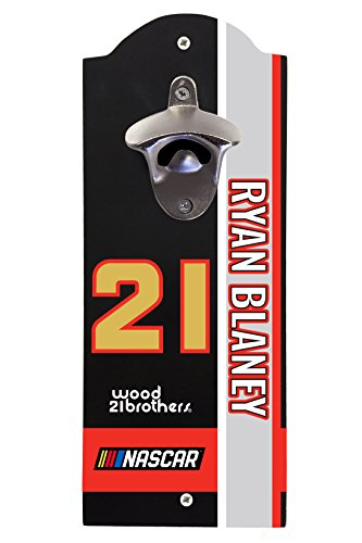 (NASCAR #21 Ryan Blaney Wall Mounted Bottle Opener-NASCAR bottle opener )