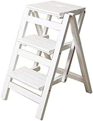 Niños Adultos Hogar Escaleras Silla de comedor Taburete Taburete Escalera de madera Escalera de tres peldaños Carga máxima 150 KG (Color : White): Amazon.es: Bricolaje y herramientas