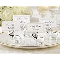 "Kate Aspen ""Lucky in Love"" Lucky Elephant Place Card/Photo Holder with Silver Finish, Package of 96"
