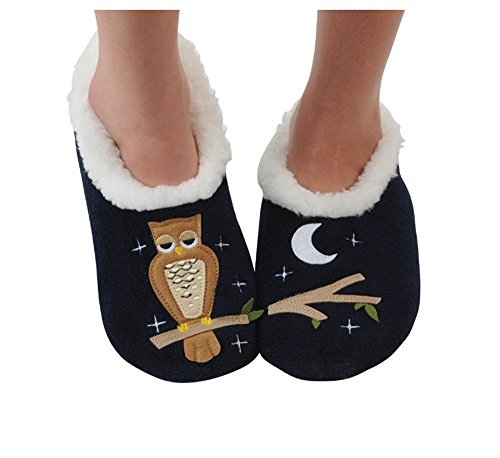 Snoozies Womens Classic Splitz Applique Slipper Socks - Up Owl Night, Large