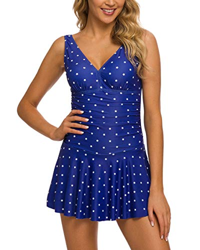 (Coskaka Women's One Piece Skirt Swimsuit Ruched Retro Swimming Dress Tummy Control Bathing Suit Navy Star XL)