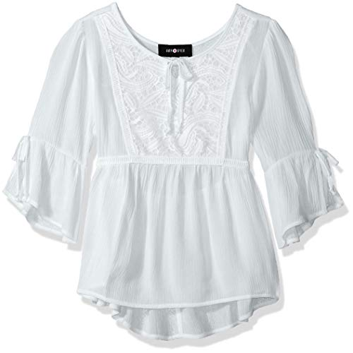 Amy Byer Girls' Big 7-16 Peasant Top, New White, S