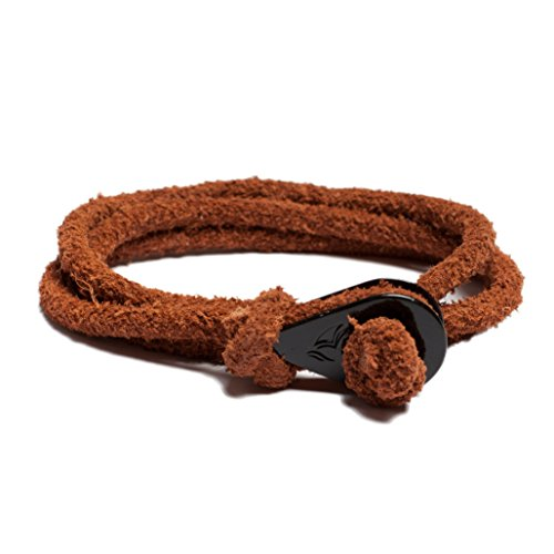 Men leather bracelet with Black solid thimble mens leather accessories (Dark brown suede leather)