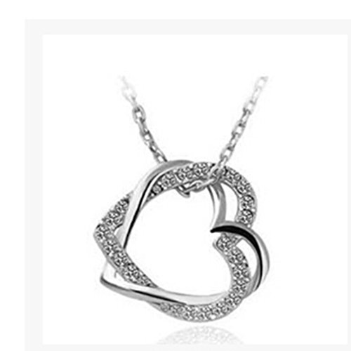 Dolland Charming Plated Infinite Crystal Love 2 Heart Pendant Necklace For Women,Silver White (Charming Heart)