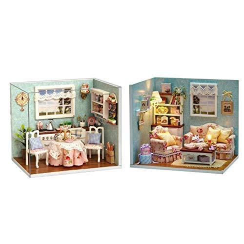 3 Stockholm Light Bath - NATFUR 2X Wooden 3D DIY Dolls House Project Kits w/Dust Cover LED Light Toy Gift