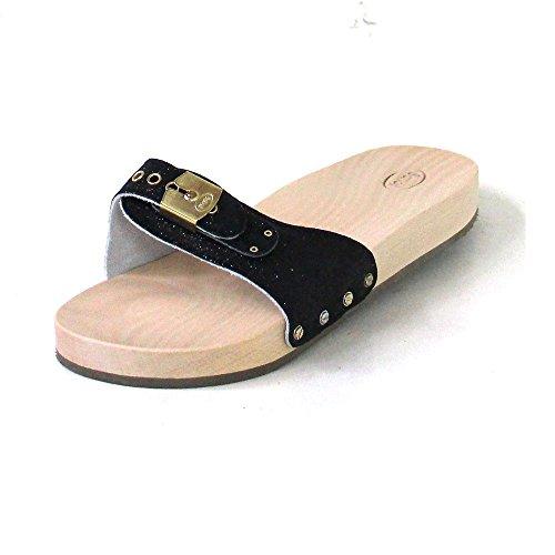 Scholl PESCURA d'exercice Plat Sandales à paillettes–Noir - Noir - noir,