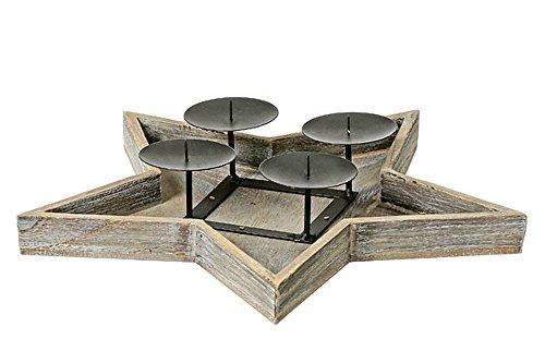 Kerzenleuchter Stern 4er D41cm Material:Blauglockenbaum+Metal