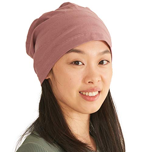Womens Light Weight Summer Beanie - Mens Slouchy Beanie Hat Stretchy Slouch Knit Cap 100% Cotton Chemo Hat Pink