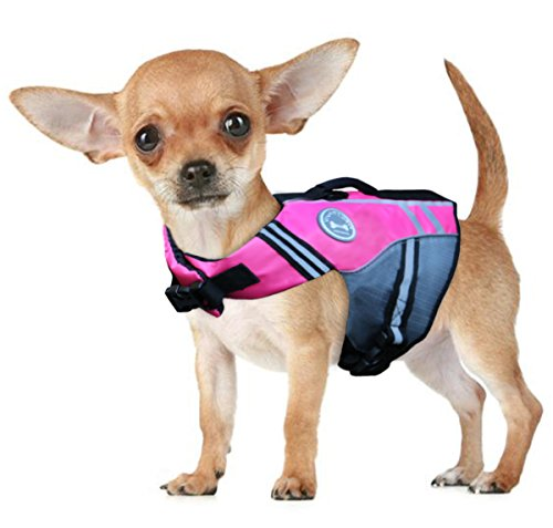 Vivaglory New Sports Style Ripstop Dog Life Jacket with Superior Buoyancy & Rescue Handle, Pink, XS