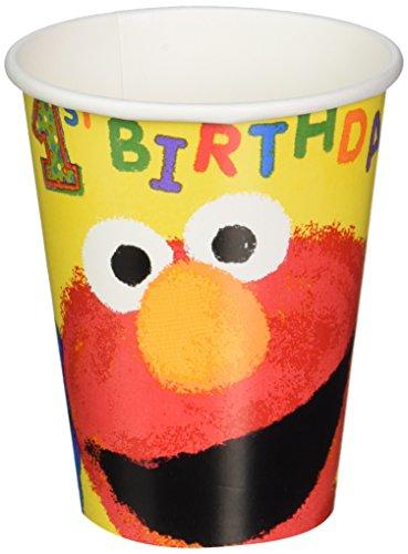 Sesame Street & Elmo's 1st Birthday Paper Cups Tableware, 9 Ounces, Pack of 18
