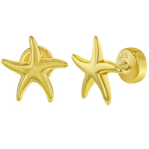 925 Sterling Silver Starfish Stud Earrings Sea Nautical Safety Back for Girls