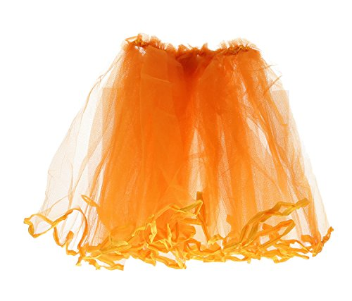 (Mozlly Neon Orange Tulle Ballerina Tutu Skirt 10 Inches Long Party Photo Shoot Costume - Novelty Outfit)