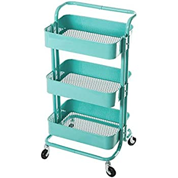 HollyHOME 3 Tier Metal Utility Service Cart Rolling Storage Shelves With  Handles, Blue Storage Utility Cart
