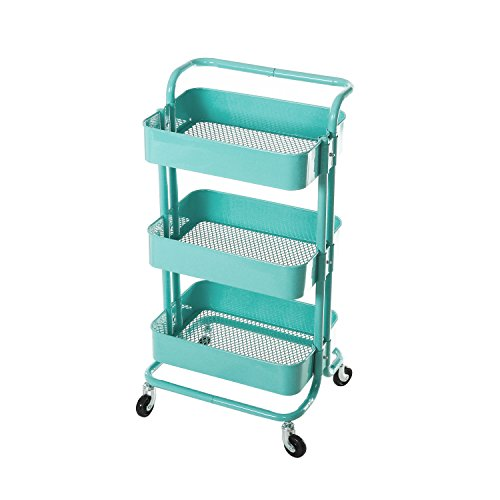 HollyHOME 3-Tier Metal Utility Service Cart Rolling Storage Shelves with Handles, Blue Storage Utility Cart - 3 Tier Metal Shelf