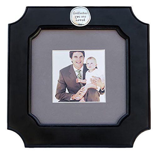 Godfather You Are Loved Black Greige Mat Frame - Holds 3 x 3 Inch Photo