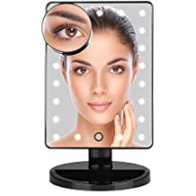 Xgody Makeup Mirror with 22 LED Light & USB Cable & Touch Screen Dimmable with Removable 10x Magnifying Mirrors for Bathroom Bedroom Desktop Tabletop (black)