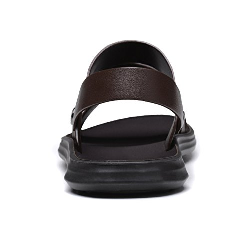 Para Hombres Calzado De Genuino Deportes Verano Zapatos Libre Cuero La Cómodos Playa Sandalias Abierto snfgoij Black1 De Ajustables Al Para Aire 5qEESwp
