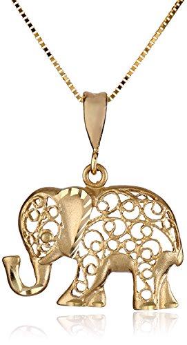 Unique gifts elephant lovers webnuggetz yellow gold d cut elephant pendant necklace aloadofball Choice Image