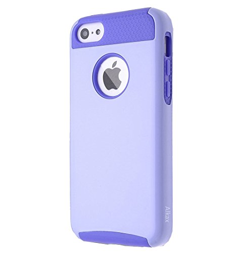 iPhone 5C Case , 5C Case ,Alkax 2 piece Armor Heavy Duty Slim Fit Series Shock-Absorption Protective Soft Rubber inner Skin Bumper & Hard Shell PC Cover for Apple iPhone 5C +1 Stylus Pen (Purple)