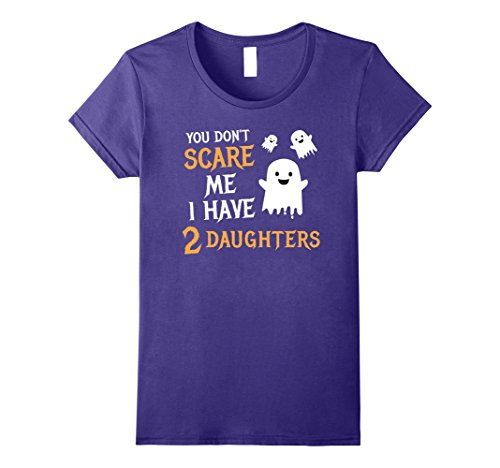 Womens You Don't Scare Me I Have 2 Daughters Halloween Shirt Gift XL Purple