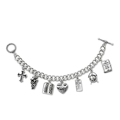 - Antiqued Rhodium-Plate Sterling Silver 'Answered Prayer' Cross Locket Charm Bracelet, 7.5