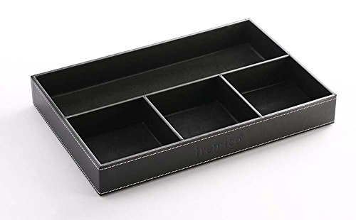 Iremico 4 Compartments Leatherette Valet Tray Desk or Dresser Top Organizer ()