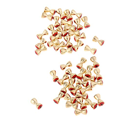 - Baosity 50Pcs Copper Brass Dumbbell Beads, Convex Barbell Eyes, Fly Tying Materials Beads