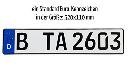 1 Euro Kfz-Kennzeichen in der Standard-Größe 520x110 mm passend für alle deutschen Fahrzeuge und Fahrradträger