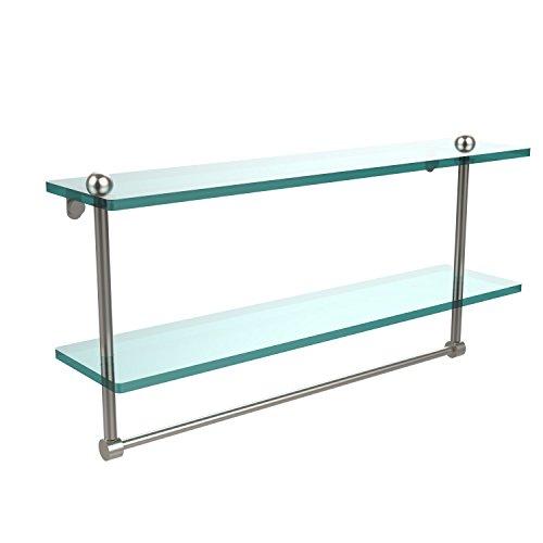 Allied Brass RC-2/22TB-SN 22-Inch Double Glass Shelf with Towel Bar by Allied Brass