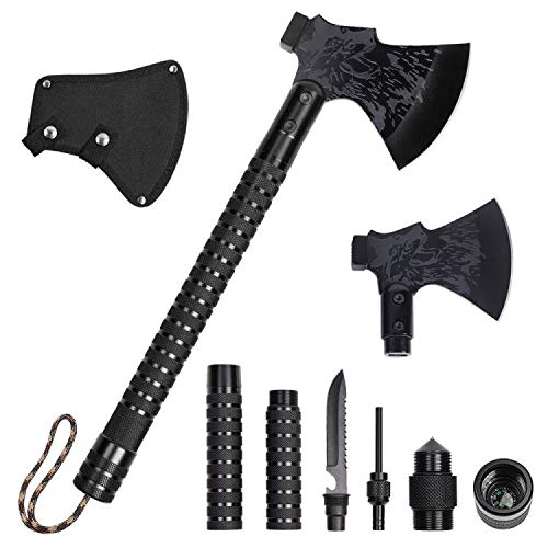 Liheya Camping Axe Tactical Hatchet Folding Portable Collapsible Camp Axe with Sheath Compass Flint for Outdoor Hiking Hunting Backpacking Emergency Camping Axe with Hammer