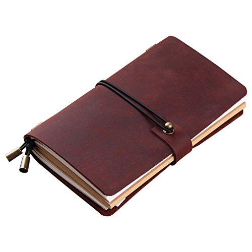 Robrasim Hand Crafted Vintage Refillable Leather Traveler's Notebook – Leather Journal Notebook – Medium Size 17x10cm – Wine