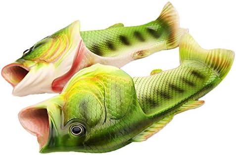 ファッション夏の女性のサンダルスリッパ魚の形のフリップフロップサンダル快適なMD素材人格と通気性-グリーン&ホワイト-23 cm