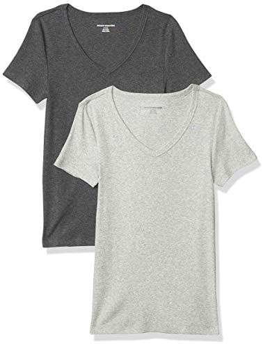 Amazon Essentials Women's 2-Pack Slim-Fit Short-Sleeve V-Neck T-Shirt