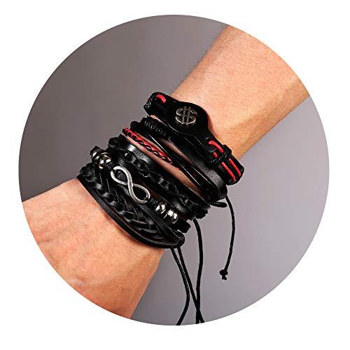 Red And Black Leather Bracelet - 77Fine Black Red US Dollar Bead Infinity Leather Boho Wrap Bracelets Braided Handmade Adjustable 5 Sets Cuff for Men Women