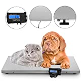 Happybuy 440Lbs Digital Livestock Scale Large Pet Vet Scale 43.3'' x 21.6'' Stainless Steel Platform Electronic Postal Shipping Scale Heavy Duty Large Dog Cat Hog Sheep Goat Pig Sheep Scale (3 Measure)