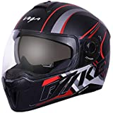 Vega Ryker D/V Track Full Face Helmet (Dull Black and Red, Medium)