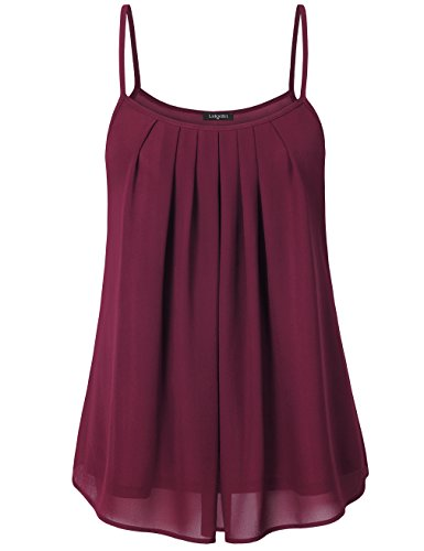 Layered Chiffon (Laksmi Women's Summer Cool Casual Sleeveless Pleated Chiffon Layered Cami Tank Top (Small, Wine))