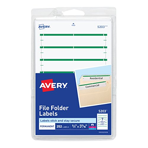 - Avery 5203 Print or Write File Folder Labels for Laser and Inkjet Printers, 1/3 Cut - Green (Pack of 252)