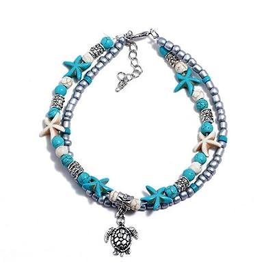 Tortuga de Estrella de Mar MTSZZF Boho Starfish Tobillera Vintage Beads Pulsera de Tobillo de la Cadena de M?ltiples Capas para Las Mujeres Joyer?a de Pie Toilera de Playa de Verano Descalzo