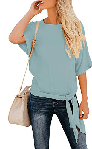 OURS Women's Casual Knot Tie Front Half Sleeve Summer T Shirt Blouses Tops (Light Blue, XXL)