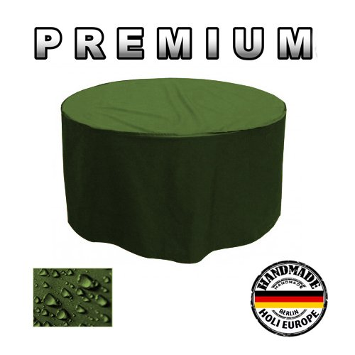 PREMIUM Gartentisch Abdeckung Gartenmöbel Schutzhülle RUND ø 185cm x H 90cm Olivgrün