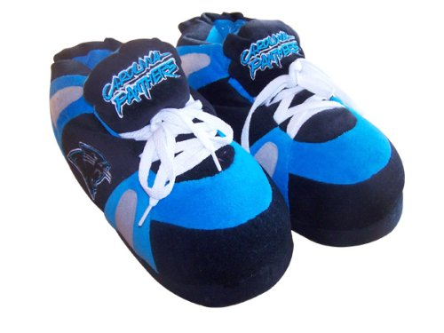 Happy Feet Comfy Feet - Officially Licensed Mens and Womens NFL Sneaker Slippers Carolina Panthers WGyTBaT50c