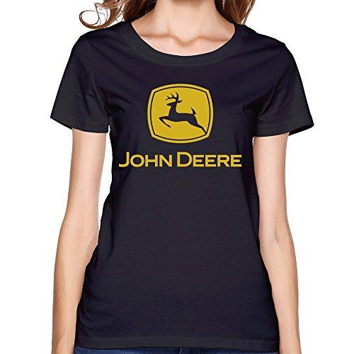 John Deere T-shirt Shorts - WYKY Women John Deere Black Short Slev Tee Tshirt