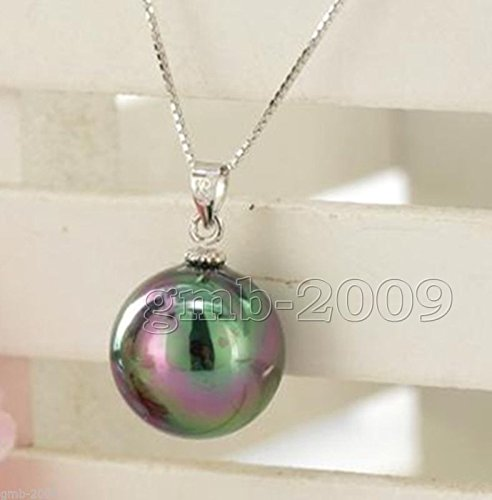 Fashion New 14MM Natural Round rainbow black South Sea Shell Pearl Pendant (Pearl Shell Round Pendant)