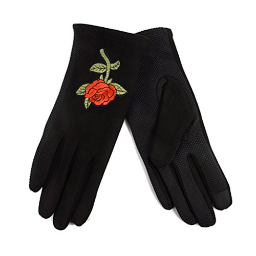 Embroidered Fleece Gloves (Women's Rose Embroidered Winter Gloves W Fleece Lining)