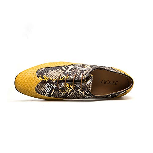 Giallo Pelle Stringate Handcrafted Eleganti Oxford Wingtip Brogue Scarpe In 02 qZBnawa8