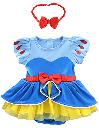 Snow White Winter Costume (YuDanae Baby Girls Princess Romper Dress with Headband Outfit Costume for Toddler 3-18 Months,Tag 90(Age:9-12M)=Height: 29.5-31.5inches)